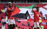 Potret Paul Pogba dan Amad Diallo Kibarkan Bendera Palestina di Old Trafford
