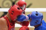 Aksi Atlet Muay Thai di Babak Penyisihan Kelas 54 Kg Putra PON Papua