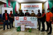 Hari Pertama PSBB di Makassar, LazisNU dan Alfamidi Bagikan 500 Paket Sembako