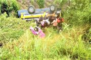 Lupa Pasang Rem Tangan, Bus Masuk Jurang di Simalungun