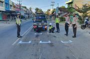 Lantas OKU Buat Pembatas Jarak di Traffic Light Cegah Penyebaran Virus Corona