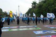 Demo Buruh di Patung Kuda, Polisi Pantau Penerapan Protokol Kesehatan