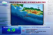 Gempa Dangkal Bermagnitudo 4,9 Mengguncang Wilayah Sukabumi