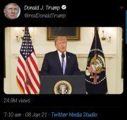 12 Jam Dibekukan Twitter, Akun Donald Trump kembali Unggah Video
