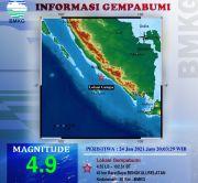 Gempa Magnitudo 4,9 Guncang Bengkulu, Tidak Berpotensi Tsunami