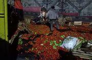 Truk Terguling di Depan SPBU Liwa, 6,5 Ton Sayur Berhamburan di Jalan
