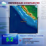Gempa Bumi M5,2 Kembali Guncang Provinsi Bengkulu