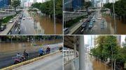 Banjir di Jalan Sudirman Jakarta Pusat Akibat Kali Meluap