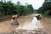 Viral! Warga Muratara Nangkap Ikan di Jalan Penuh Kubangan Lumpur
