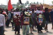 Prosesi Penguburan Mahasiswa Myanmar Ditembaki Pasukan Junta