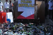 Jaga Kekhusyukan Puasa Ramadhan, Polres Boyolali Musnahkan Ribuan Botol Miras