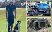 Penampakan Perdana Tiger Woods Pakai Kruk Pasca Kecelakaan Maut