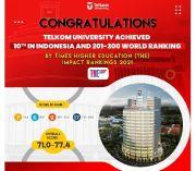 Telkom University PTS Nomor Satu Indonesia versi THE Impact Ranking 2021