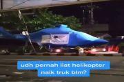Viral! Helikopter Naik Truk di Ciputat Tangsel