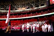 Kemeriahan Kontingen Indonesia Saat Defile Atlet Olimpiade Tokyo 2020