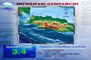 Sukabumi Diguncang Gempa Tektonik 3,4 SR, Kedalaman 5 Km
