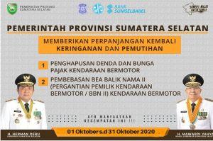 Lagi, Gubernur Sumsel Perpanjang Pembebasan Denda Kendaraan dan BBN-KB