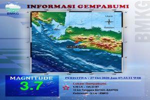 Gempa Tektonik 3,7 SR Guncang Bayah Banten