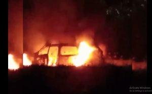 Pajero Tiba-Tiba Ludes Terbakar di Tol Madiun-Surabaya