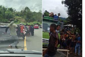 Miris! Warga Majene Adang Kendaraan dan Berebut Sembako Bantuan Gempa