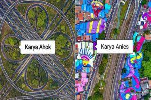 Netizen Bandingkan Jalan Layang Semanggi Karya Ahok VS Rumah Warna Warni Karya Anies