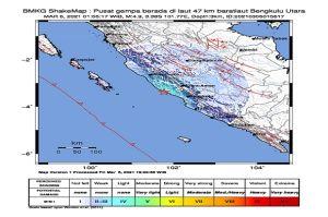 Dini Hari, Gempa Bumi Dangkal Bermagnitudo 4,9 Mengguncang Bengkulu