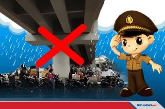 Berteduh di Bawah Flyover Ketika Hujan, Pengendara Bakal Ditilang