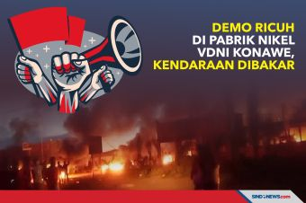 Demo Ricuh di Pabrik Nikel VDNI Konawe, Kendaraan Dibakar