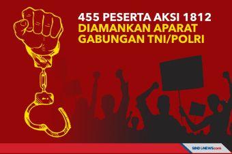 455 Peserta Aksi 1812 Diamankan Aparat Gabungan TNI/Polri
