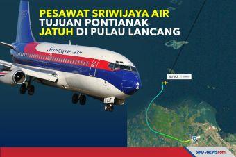 Pesawat Sriwijaya Air Tujuan Pontianak Jatuh di Pulau Lancang