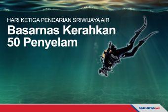 Basarnas Kerahkan 50 Penyelam Hari Ketiga Pencarian Sriwijaya Air