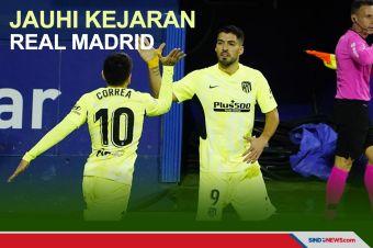 Suarez Cetak Dua Gol, Atletico Jauhi Kejaran Real Madrid