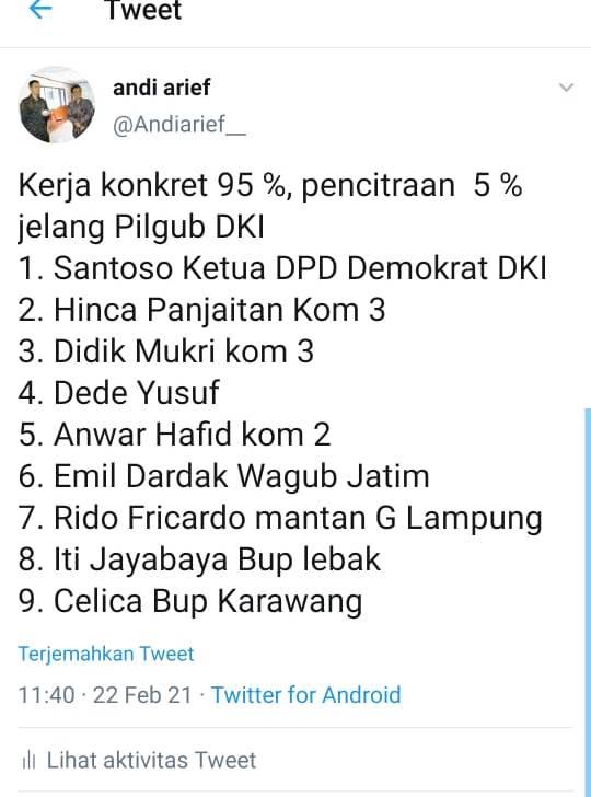 Kembali Pamer 9 Jagoan Demokrat di Pilkada DKI, Andi Arief: Kerja Konkret 95%, Pencitraan 5%