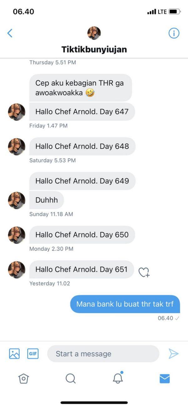 Setelah Menanti 651 Hari, Netizen Ini Akhirnya Dapat THR dari Chef Arnold