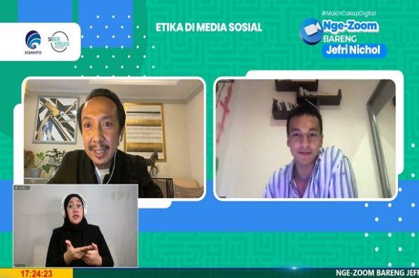 Kegiatan Online Bermanfaat dari Kominfo dan Siberkreasi bersama Ernest Prakasa dan Jefri Nichol