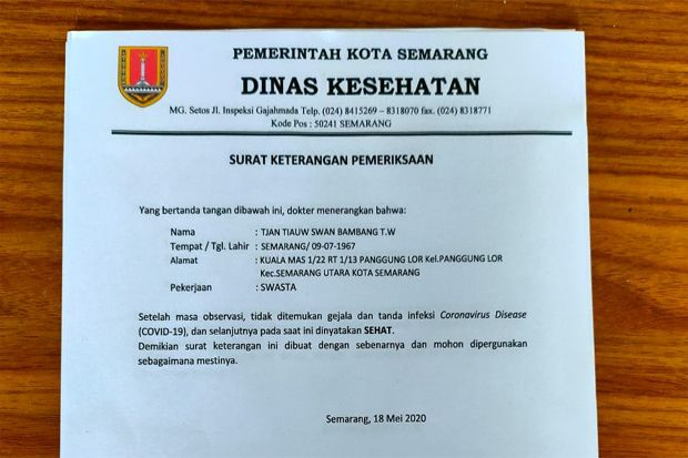 Surat Dinas Kesehatan (Dinkes) Pemkot Semarang yang menjadi bukti autentik Tjan Tiauw Swan Bambang Tjondro Waluyo sehat. Foto/Ist