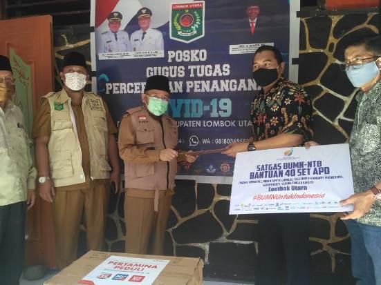 Penyerahan Bantuan APD Tahap II Satgas BUMN NTB kepada Pemda KLU
