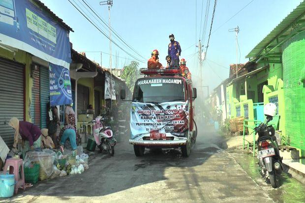 Cegah Corona, Bekas Lokalisasi Gambilangu Kendal Disemprot Disinfektan