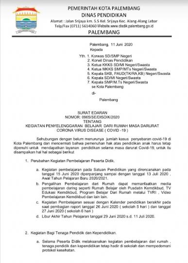 Disdik Palembang Tunda Kegiatan Sekolah Hingga 13 Juli