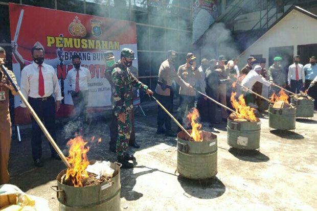 245 Kilogram Ganja Kering Siap Edar Dibakar Polres Tapanuli Selatan