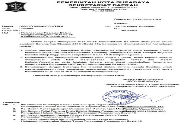 Wali Kota Surabaya Tiadakan Lomba dan Tasyakuran Kemerdekaan