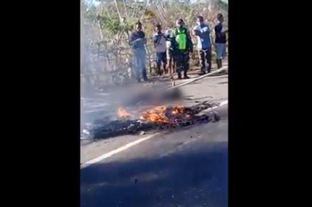 Saat Terbakar di Pinggir Jalan, Pegawai Puskesmas Ini Tak Ditolong