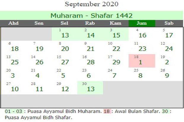Jadwal Puasa Sunnah Bulan September 2020 dan Lafaz Niatnya