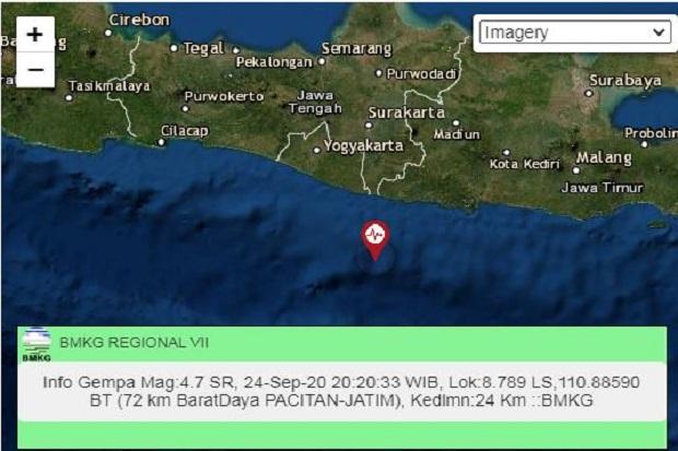 Gempa Berkekuatan M 4.7 Guncang Gunungkidul, Bantul, Yogyakarta