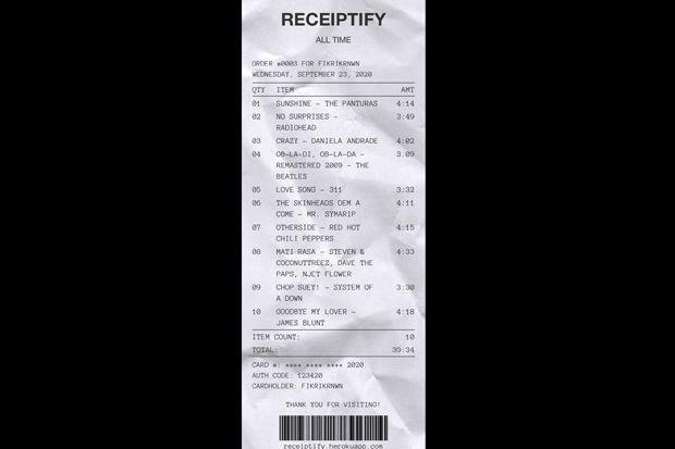 Ini cara Membuat Receiptify, Daftar Lagu Layaknya Setruk Belanja