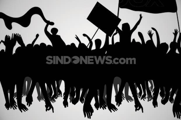 Aliansi BEM SI Orasi di Bundaran Patung Kuda, TNI-Polri Siaga