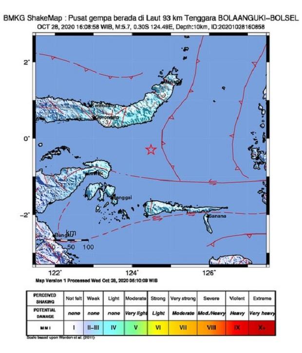 Gempa Bumi Bermagnitudo 5,7 Guncang Bolsel, Ini Penjelasan BMKG