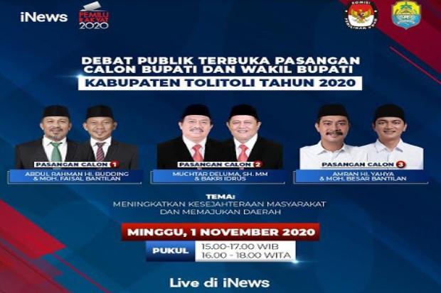 iNews Tayangkan Debat Publik Terbuka Pilkada Kabupaten Tolitoli