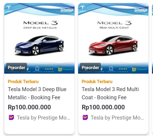 Prestige Motorcars Jual Tesla Di Tokopedia Booking Fee Rp100