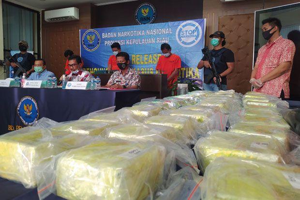 BNN Kepri Gagalkan Transaksi Sabu 33 Kg di Perairan, Kurir Diupah Rp30 Juta per Kilo